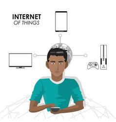 Internet of things man smartphone laptop game vector