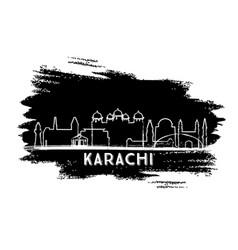 Karachi pakistan city skyline silhouette hand vector