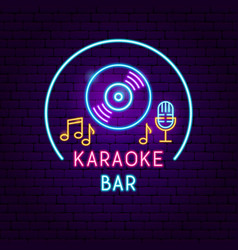 karaoke bar neon sign vector image