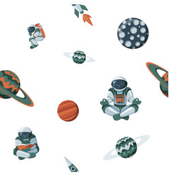 kid space with planets and spaceships flat vector image