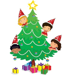 Kids at christmas vector