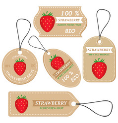 labels with various fruitsfor strawberry vector image