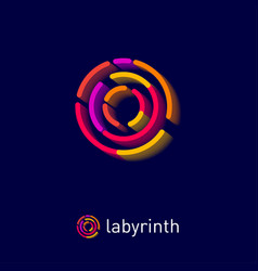 labyrinth logo some multi color circle elements vector image