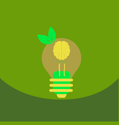 Light save planet on ecology style lamp with brain vector