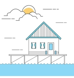 line style of house or home above sea vector image