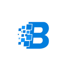 Logo letter b blue blocks cubes vector