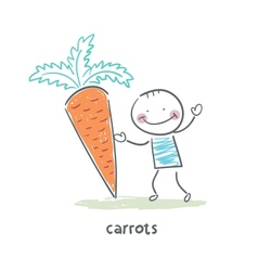 Man and carrots vector image