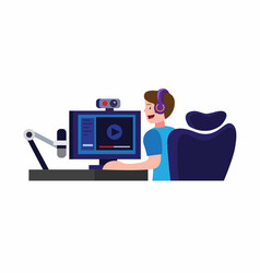 Man sitting in headset streamer content creator vector