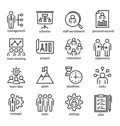 management linear or outline isolated icons vector image