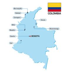Map colombia with flag and main cities vector