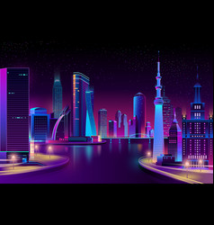 Modern city on river at night vector