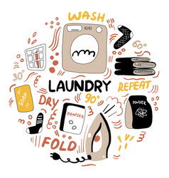 modern laundry doodle housework vector image