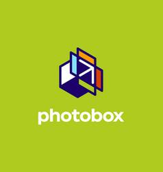 Modern professional logo photobox in photography vector