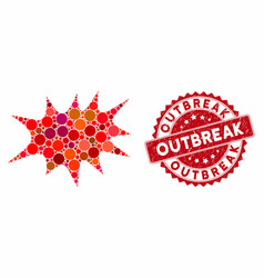 Mosaic boom bang with scratched outbreak stamp vector