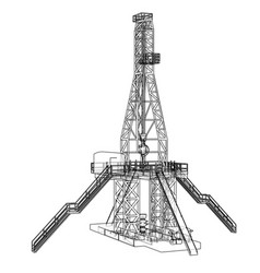 oil rig concept rendering of 3d vector image