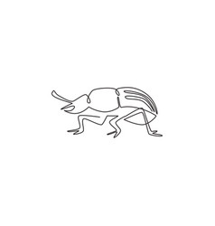 one continuous line drawing cute beetle vector image
