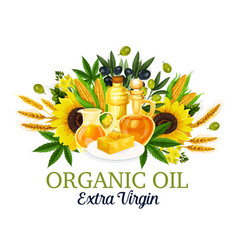 Organic oil with natural food ingredients vector