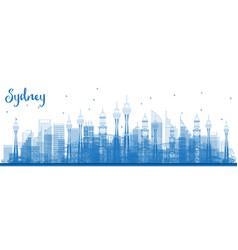 outline sydney australia skyline with blue vector image