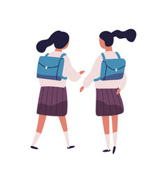 pair of girls or twin sisters dressed in school vector image