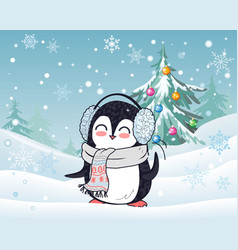 Penguin in scarf and headphones winter landscape vector