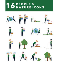 people and nature icons vector image