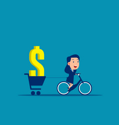 person ride a bike carrying money concept vector image