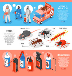 pest control isometric horizontal banners vector image