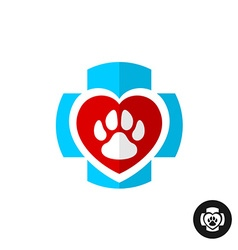 Pet paw love symbol with medical cross Vet clinic vector