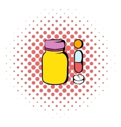 Pills in a bottle icon comics style vector image