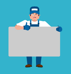 plumber holding banner blank fitter and white vector image