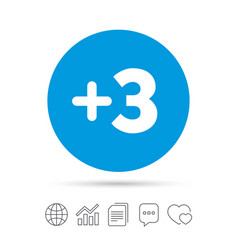 Plus three sign add three symbol vector