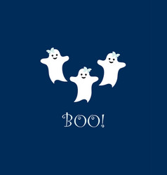 poster with cute cartoon ghosts vector image