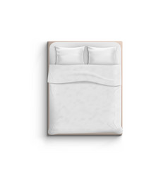 realistic white bed with pillows top view vector image