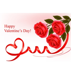 red roses and red ribbons vector image vector image