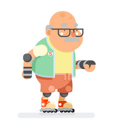 Roller skate adult sports healthy grandfather vector