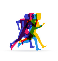 Running marathon people run in different vector