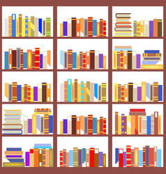 seamless bookshelf isolated pattern vintage flat vector image