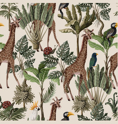 seamless pattern with exotic trees and animals vector image