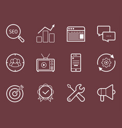 Seo smm development marketing icon set vector