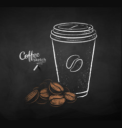 set coffee paper cup with pile beans vector image