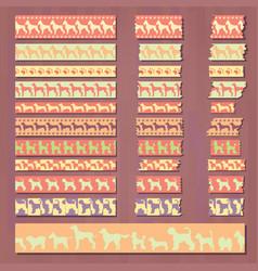 Set cute decorative tapes doggish style vector