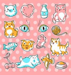 set cute kawaii cats fun animal collection vector image