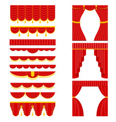 Set of red theater curtain and lambrequins vector