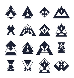 Set of trendy geometric shapes Hipster logotypes vector image