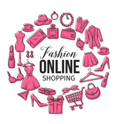 set online fashion shopping icons vector image