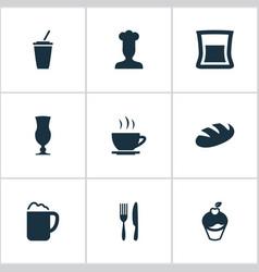 Set simple restaurant icons vector