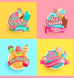 Set summer ice creams labels vector