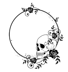 Skull and roses frame vector