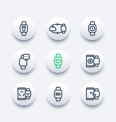 Smart watch line icons wearable device gadgets vector