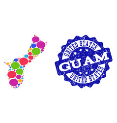 Social network map of guam island with chat clouds vector